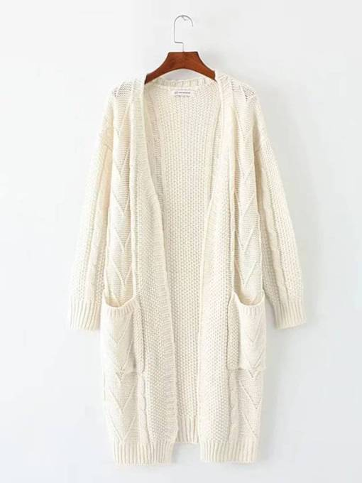 Loose Open Front Pure Color Double Pocket Women's Cardigan