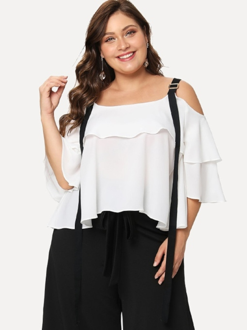 Plus Size Ruffle Sleeve Off Shoulder Drawstring Women's Blouse