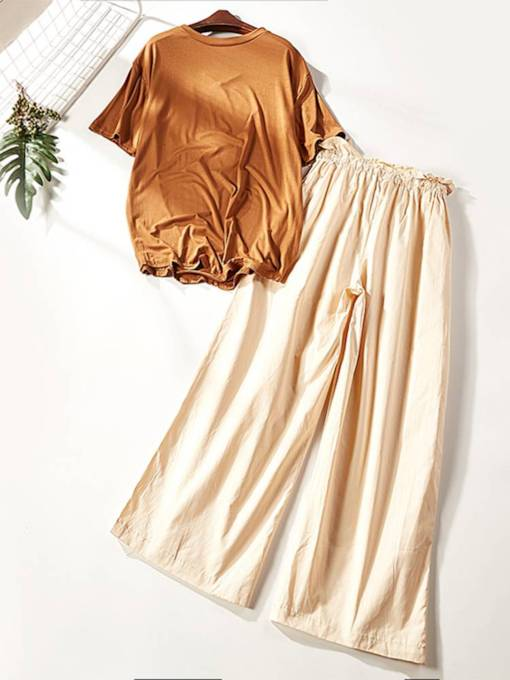 Casual Plain Tee and Pants Women's Two Piece Set