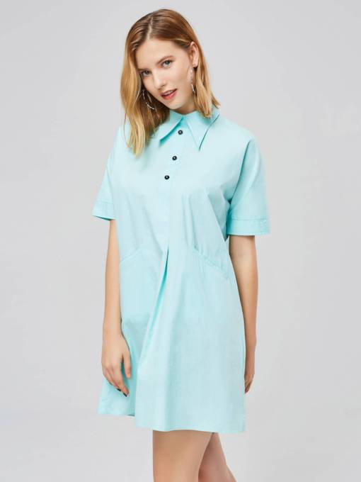 Mint Green Polo Neck Button Short Sleeve Day Dress