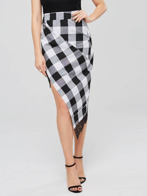 Lace Patchwork Gingham Print Women's Skirt