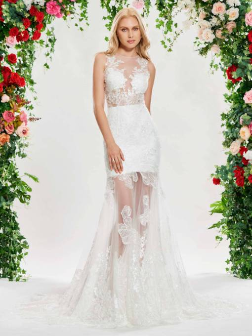 Sheer Neck Appliques Mermaid Beach Wedding Dress