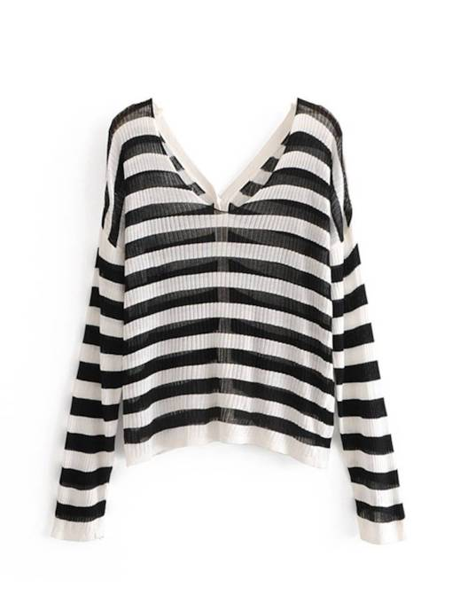 Stripe Loose Fit Single-Breasted Women's Sweater