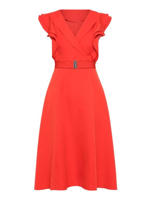 V-Neck High Waist Sleeveless A-Line Dress
