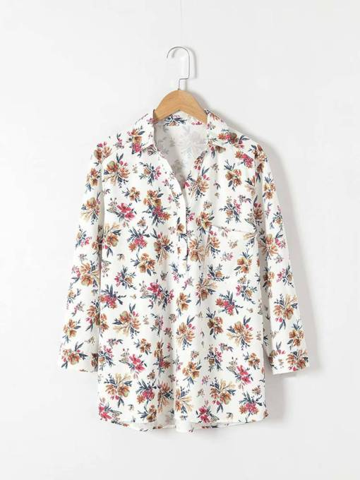 Floral Print Polo Neck Pullover Women's Blouse