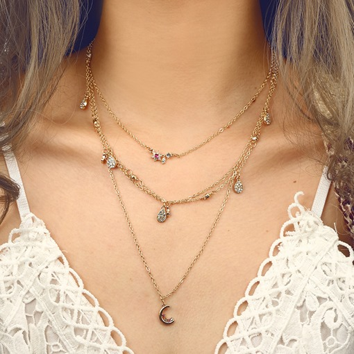 Full Drill Star Moon Multilayer Necklace