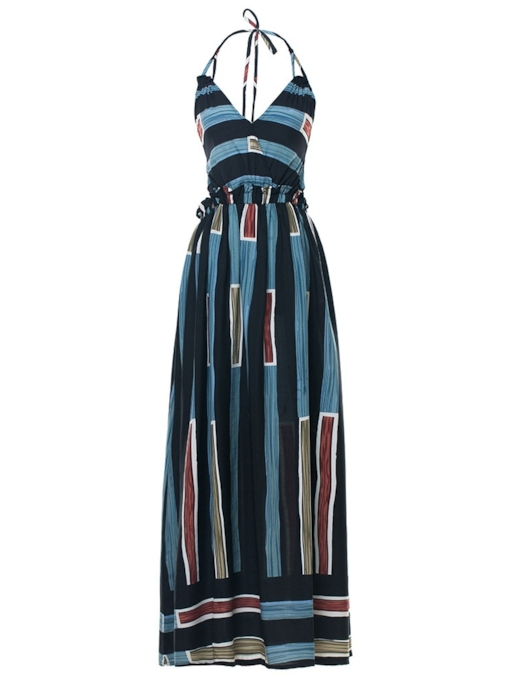 Striped Halter Lace up Women's Maxi Dress