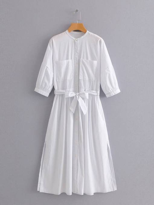 White Pockets Lace up Women's Day Dress