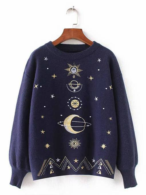 Star Embroidery Lantern Sleeve Women's Sweater