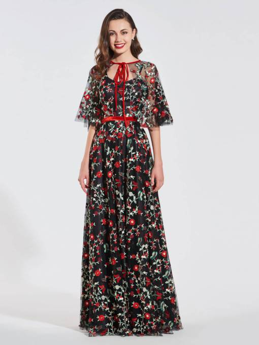 A-Line Half Sleeves Multi Color Printing Evening Dress