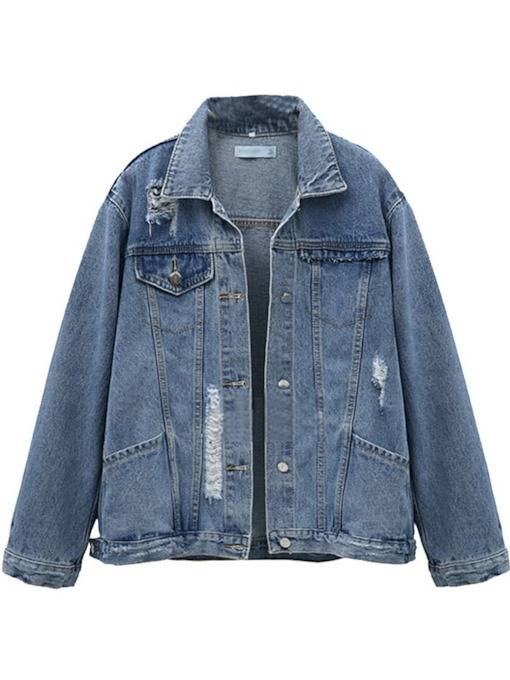 Pocket Single-Breasted Worn Women's Jean Jacket