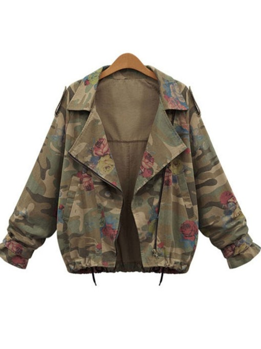 Camouflage Notched Lapel Zipper Up Women's Jacket