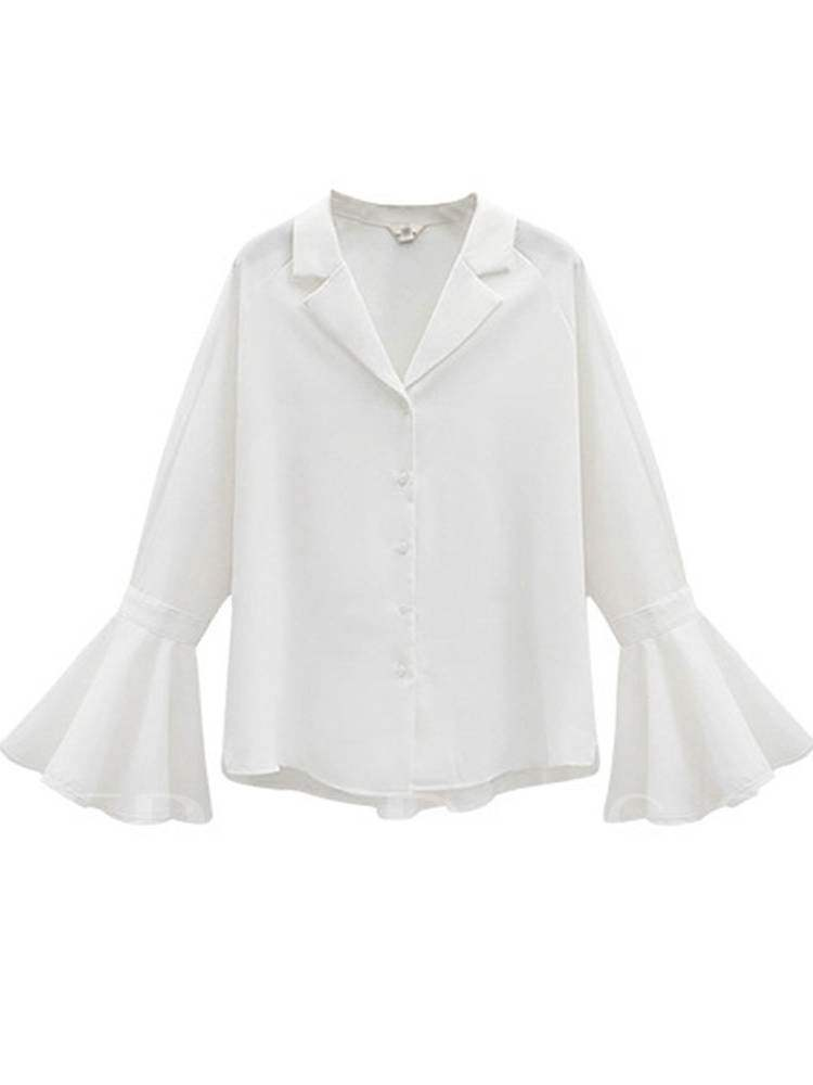 Buy Notch Neck Flare Sleeve Single-Breasted Women's Shirt, Spring,Fall, 13372402 for $18.01 in TBDress store