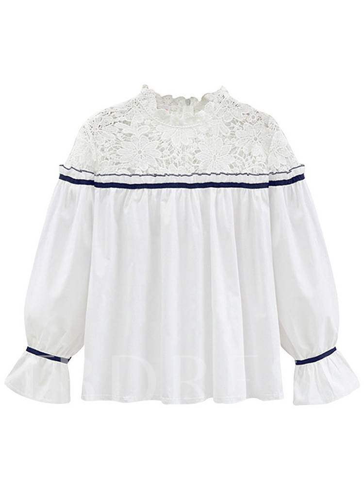 Buy Crochet Stand Collar Frilled Pleated Bell Sleeve Women's Blouse, Spring,Fall, 13372403 for $16.54 in TBDress store