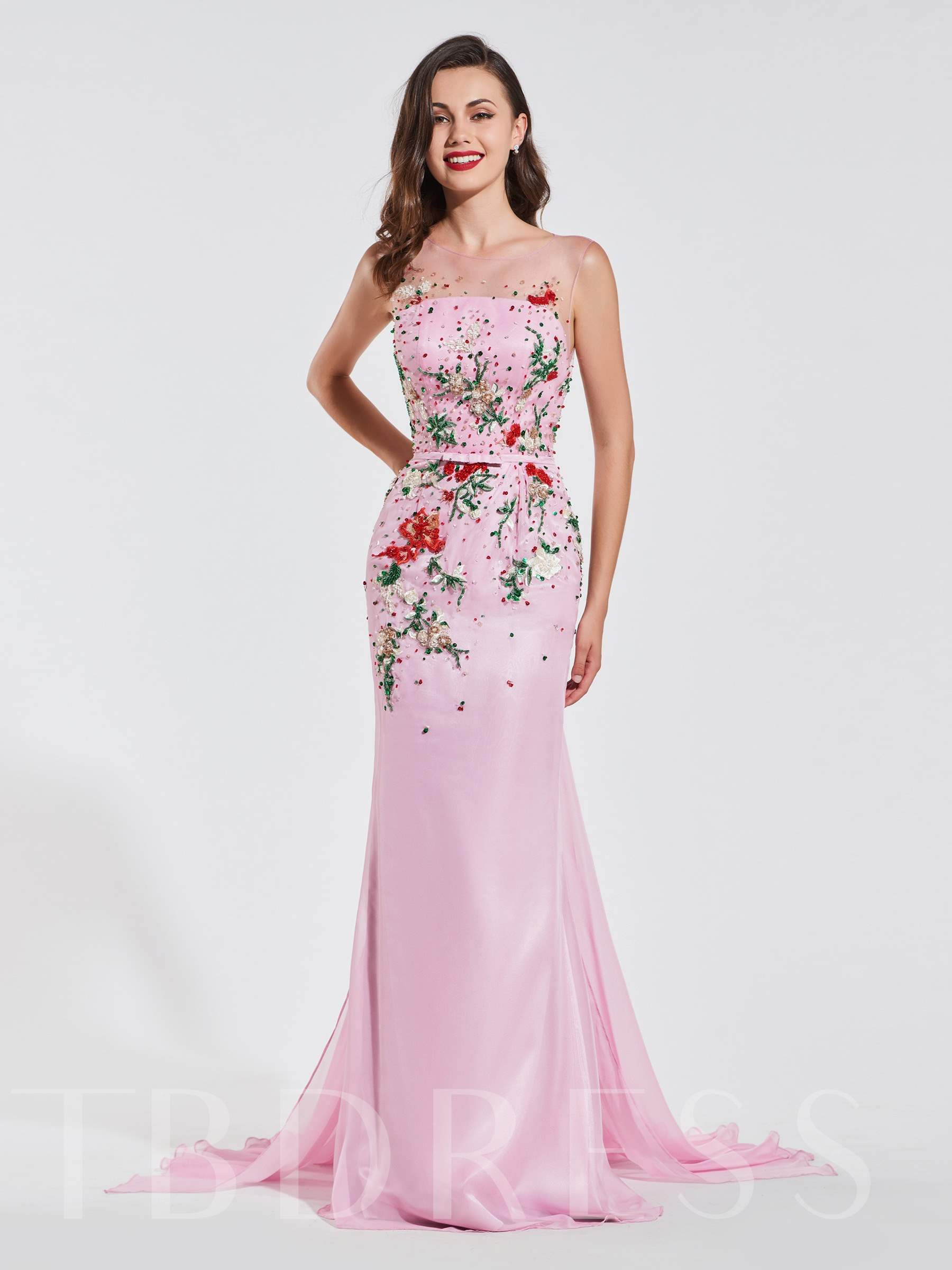 Buy Trumpet Scoop Appliques Beading Button Evening Dress, Spring,Summer,Fall,Winter, 13371175 for $194.44 in TBDress store
