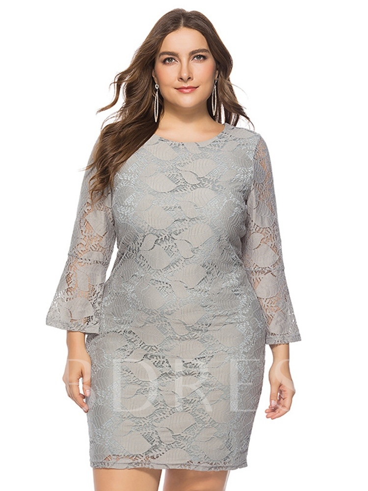 Buy Plus Size Flare Sleeve Lace Bodycon Dress, Plusee, 13385261 for $26.10 in TBDress store