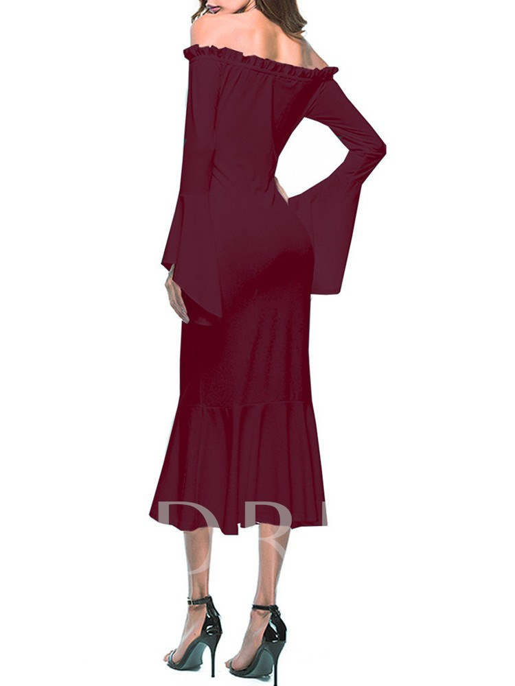 Off Shoulder Bell Sleeve Bodycon Maxi Dress