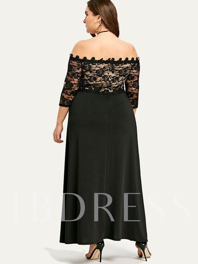 Plus Size Lace Backless Split Maxi Dress