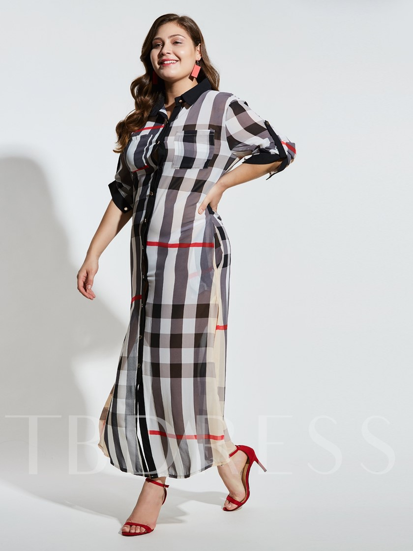 Plus Size Long Sleeve Pocket Button Maxi Dress