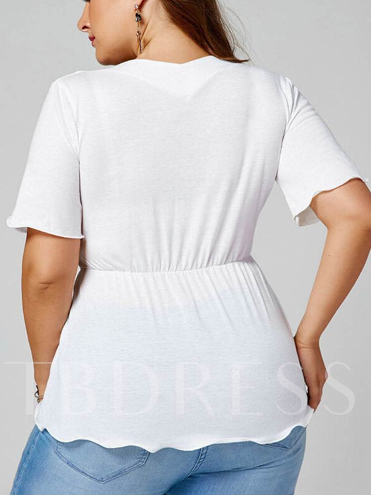 115c8286724 Tie Waist Plunge Neck Plus Size Women s T-Shirt - Tbdress.com