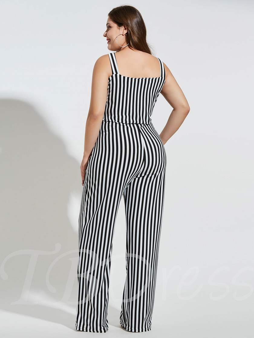 Plus Size Stripe Straight Women's Jumpsuit