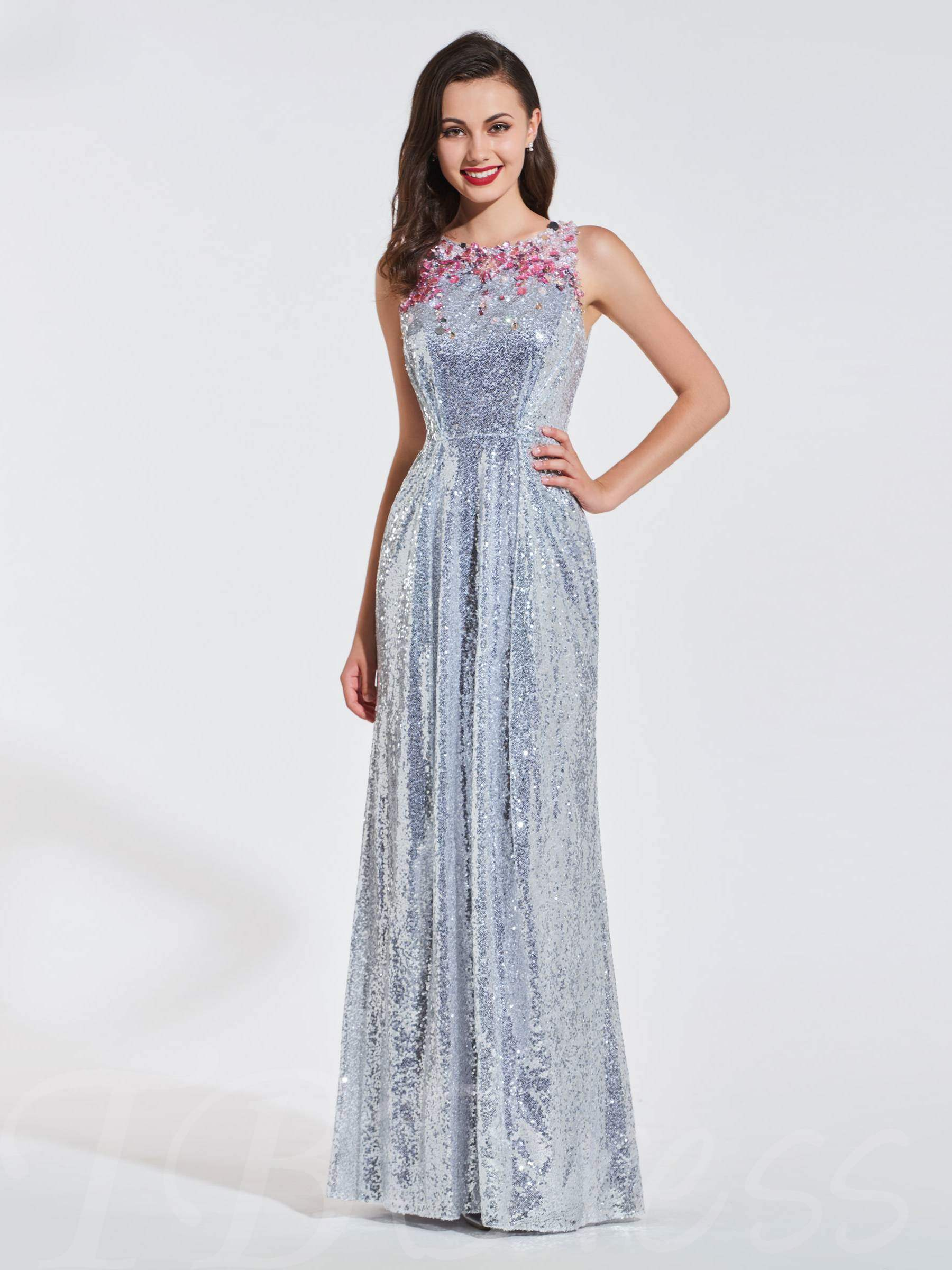 Buy Sheath Scoop Appliques Sequins Evening Dress, Spring,Summer,Fall,Winter, 13371173 for $159.09 in TBDress store