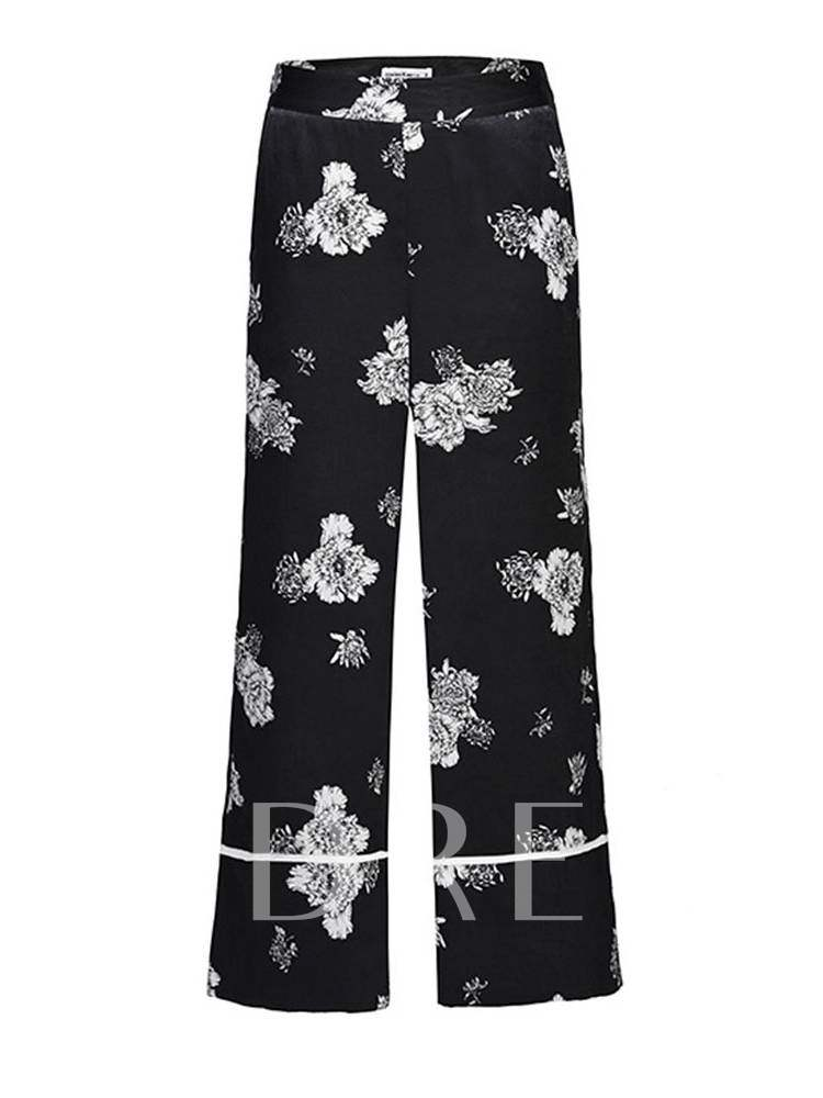 Buy Loose Floral Print Wide Legs Simple Women's Casual Pants, Summer, 13371731 for $23.53 in TBDress store