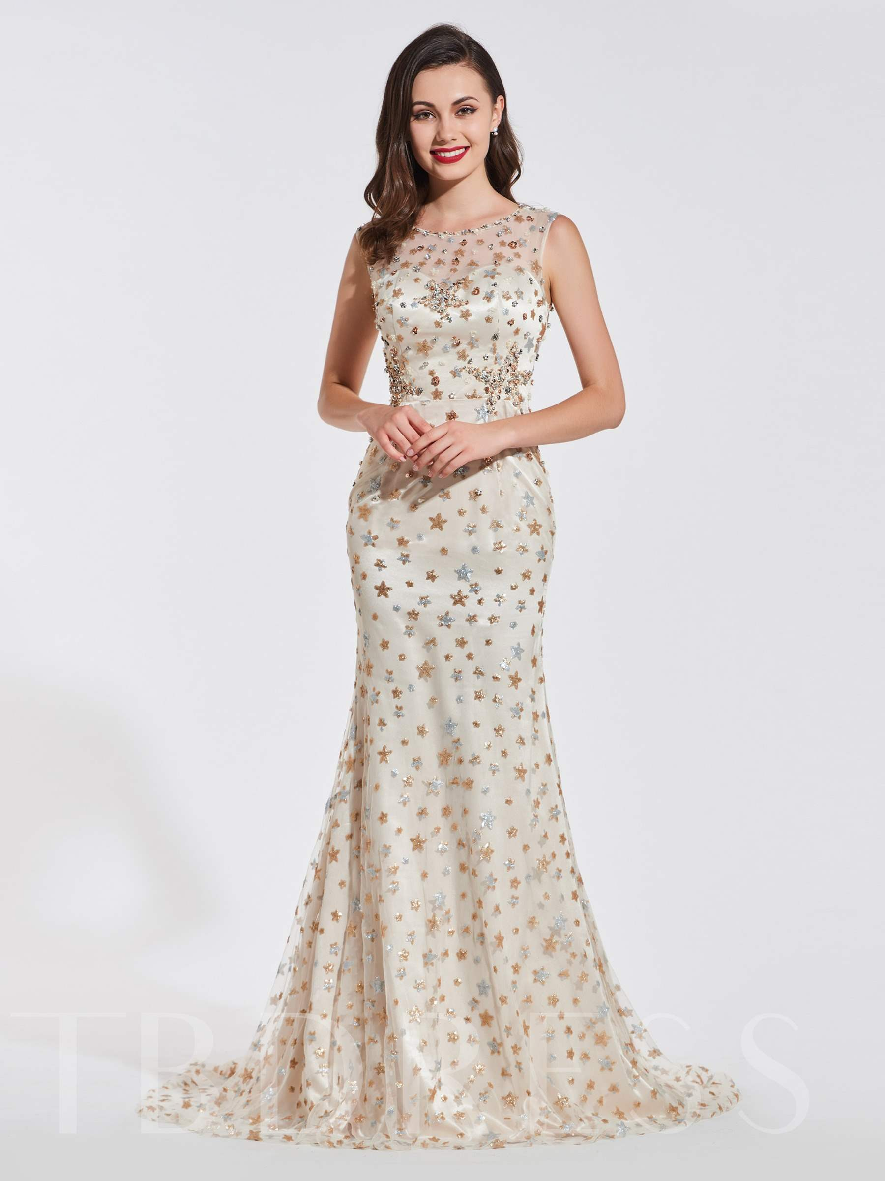 Buy Trumpet Beading Lace Scoop Evening Dress, Spring,Summer,Fall,Winter, 13371172 for $166.18 in TBDress store