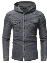 Hooded Wash Worn Slim Men's Denim Shirt