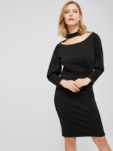 Black Puff Sleeve Knee-Length Women's Sheath Dress