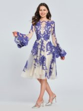 A-Line Appliques Lace Ruffles Homecoming Dress