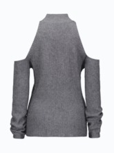Cold Shoulder Beading Women's Mock Neck Sweater