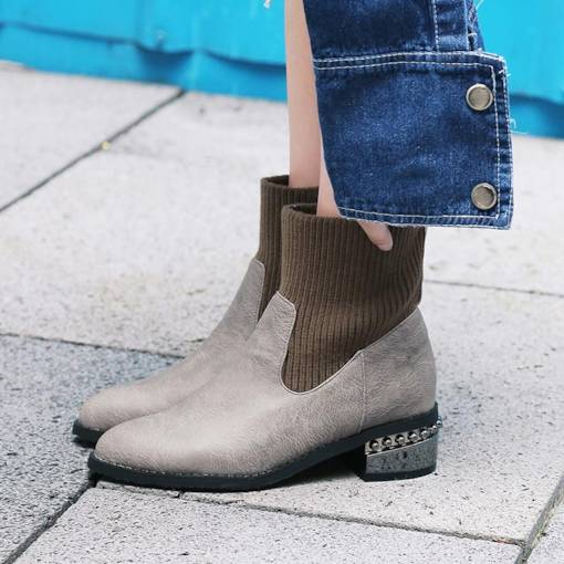 Round Toe Slip-On Patchwork Women's Ankle Boots