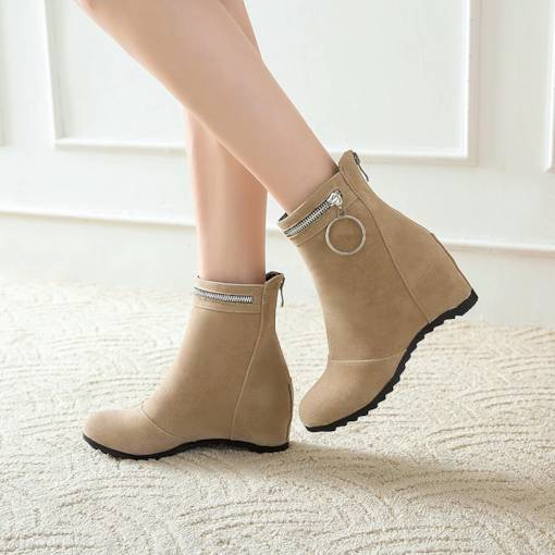 Suede Zipper Elevated Women's Ankle Boots