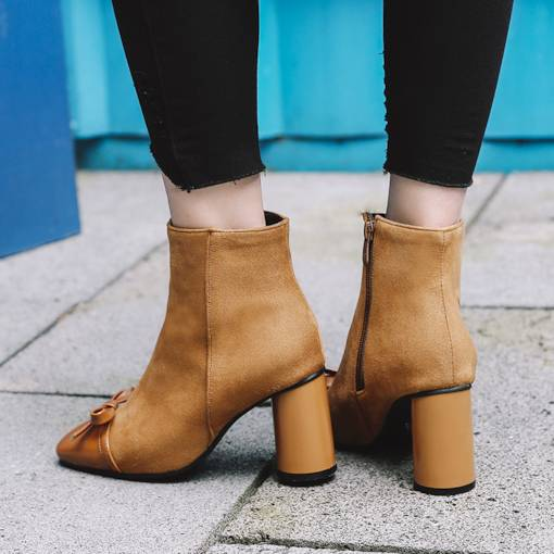 Bowknot Patchwork Chunky Heel Square Toe Women's Ankle Boots