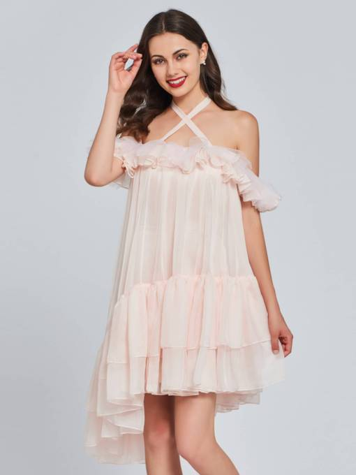 A-Line Halter Ruffles High Low Homecoming Dress