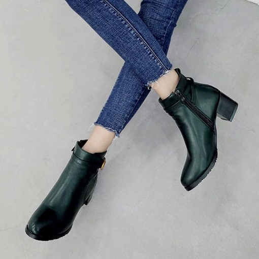 Round Toe Buckle Chunky Heel Chic Women's Ankle Boots