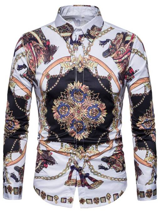 Lapel Ethnic Print Leisure Men's Shirt