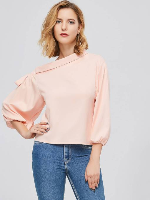 One Shoulder Off Candy Color Women's Blouse