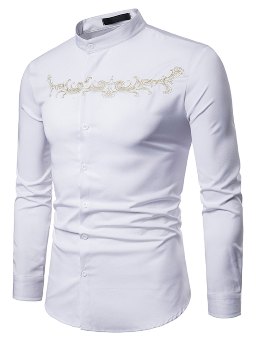 Chinese Style Solid Color Plain Men's Shirt