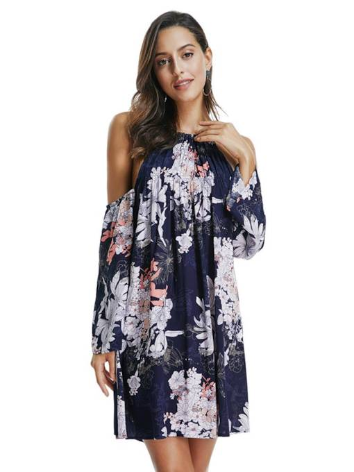 Long Sleeve Floral Prints Travel Look Day Dress