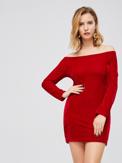 Christmas Slash Neck Velvet Women's Sheath Dress