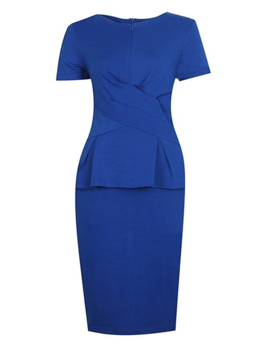 Double-Layered Short Sleeve Women's Pencil Dress