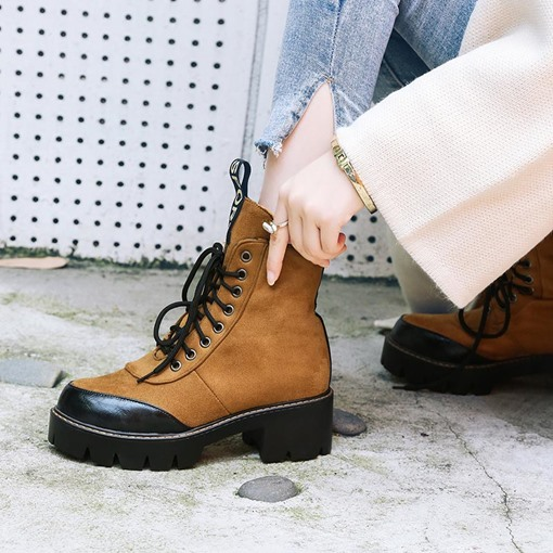 Lace-Up Block Heel Stylish Martin Boots for Women