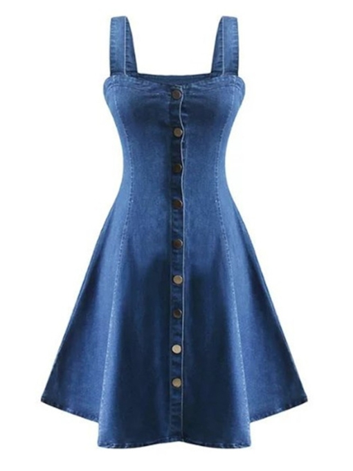 Spaghetti Strap Button Denim Plain Day Dress