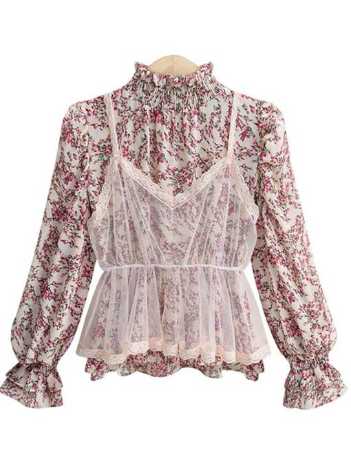 Stand Collar Double-Layered Mesh Patchwork Women's Blouse