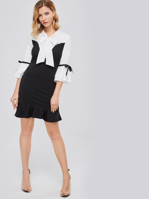 Bowknot Neck Bell Sleeve Women's Day Dress