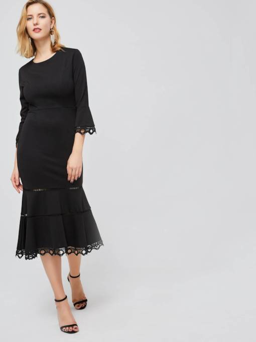 Round Neck Long Sleeve Elegant Maxi Dress