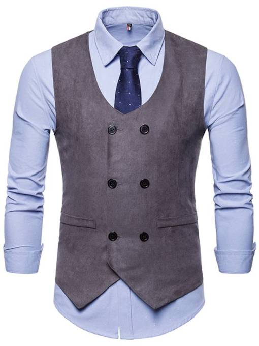 Double Breasted Solid Color Men's Vest