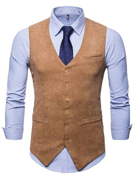 Single-Breasted Solid Color Men's Vest